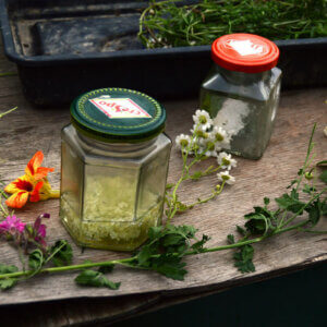 tinctures and foraged herbs and flowers