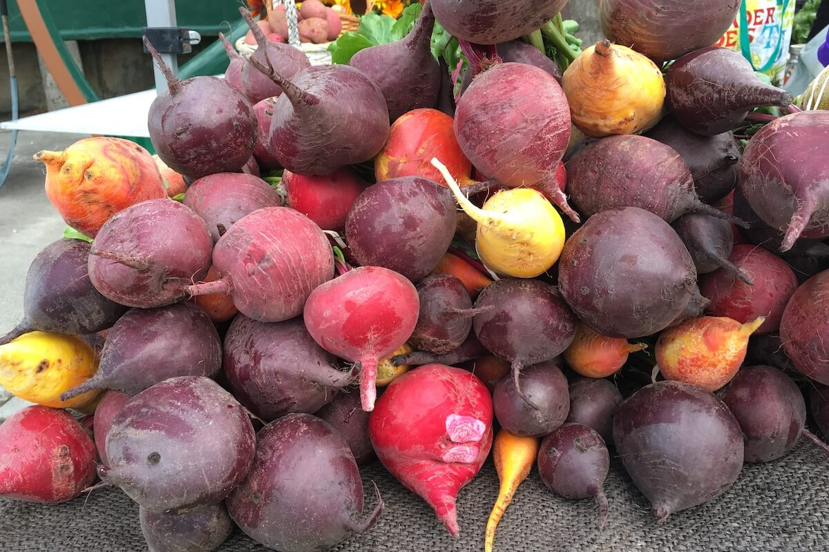 multi-colored beets stacked