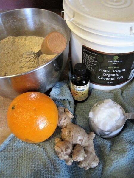 scone batter, vanilla, orange, ginger, coconut oil