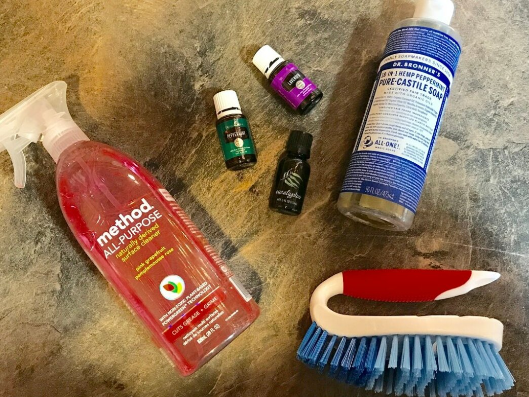 all purpose cleaner, essential oils, dr bronners, scruber