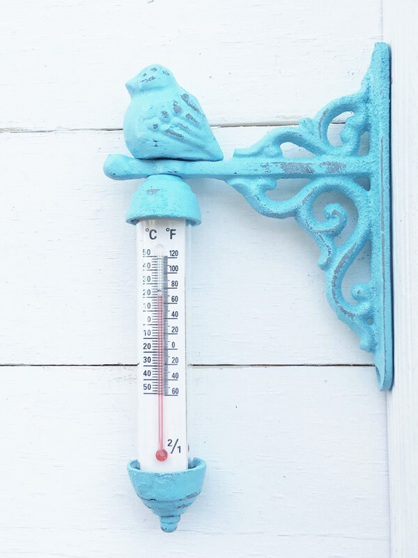 Cast Iron Tiffany Blue Bird Outdoor Thermometer