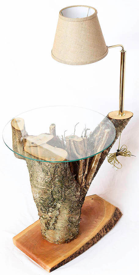 Handcrafted Birch Tree Stump Table With Lamp