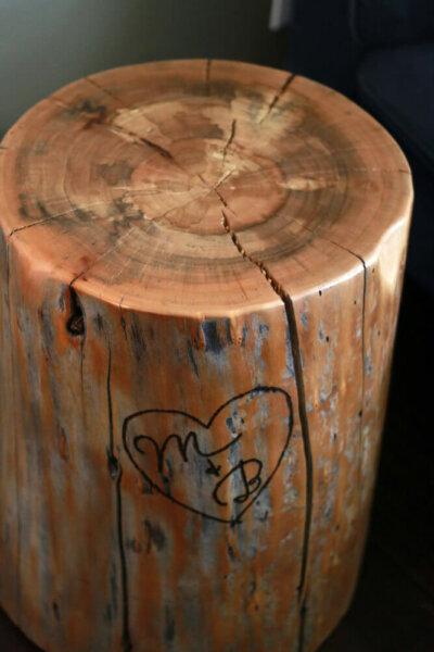 custom engraved tree stump table