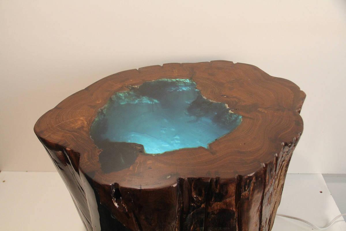 Modern Illuminated Tree Stump Table