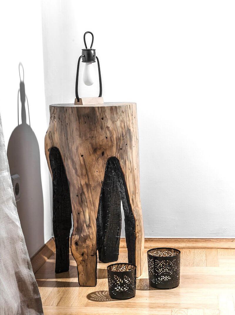 Natural Burned Tree Stump Table