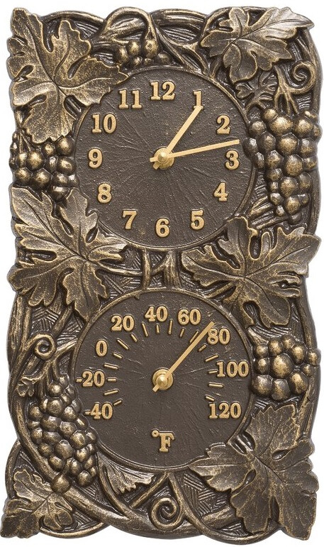 Outdoor Grapevine Dual Clock Thermometer