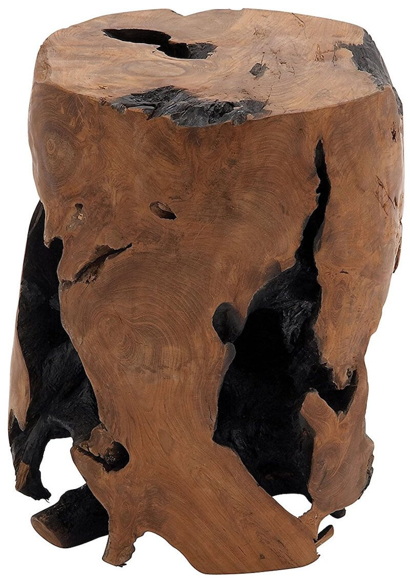 Rustic Teak Wood Tree Stump Table