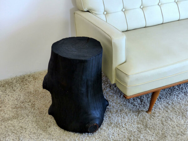 Tree Stump Table With Shou Sugi Ban Finish