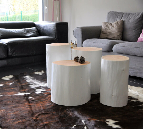 Tree Stump Table With White Finish