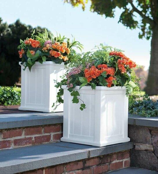 white square self-watering planter