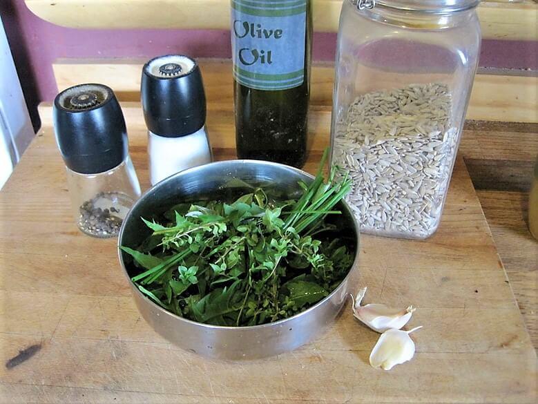 edible weeds pesto