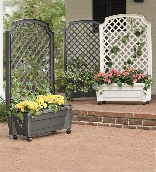 Self-Watering Planter With Trellis And Wheels