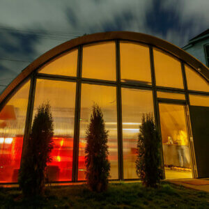 quonset hut at night