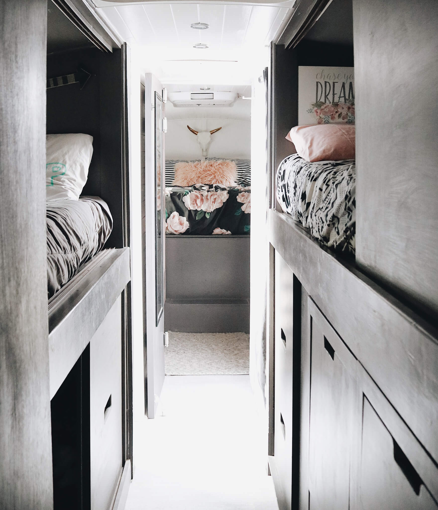bunk beds in converted school bus