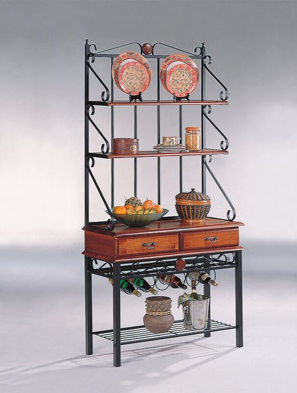 Bakers Rack With Attached Wine Rack