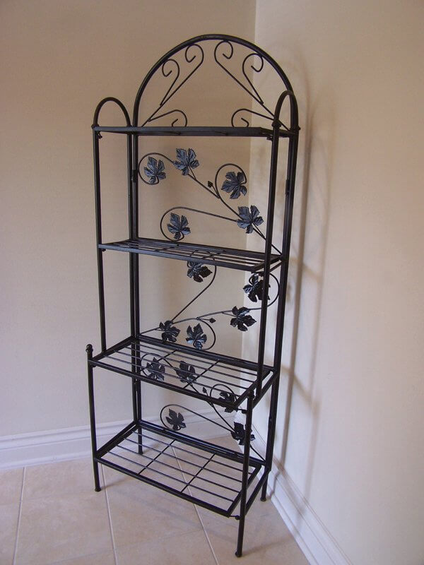 bakers rack with leaf trim