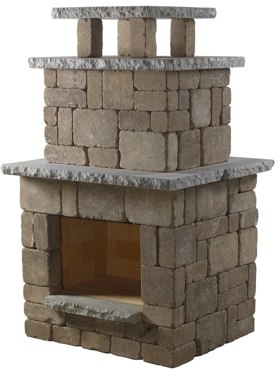 Compact Stone Outdoor Fireplace
