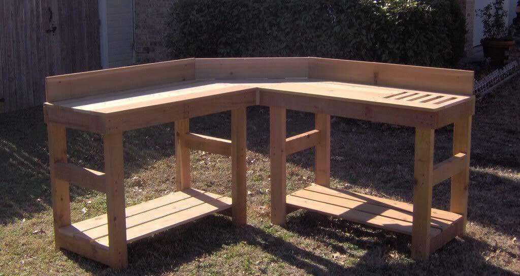 Corner Cedar Potting Bench