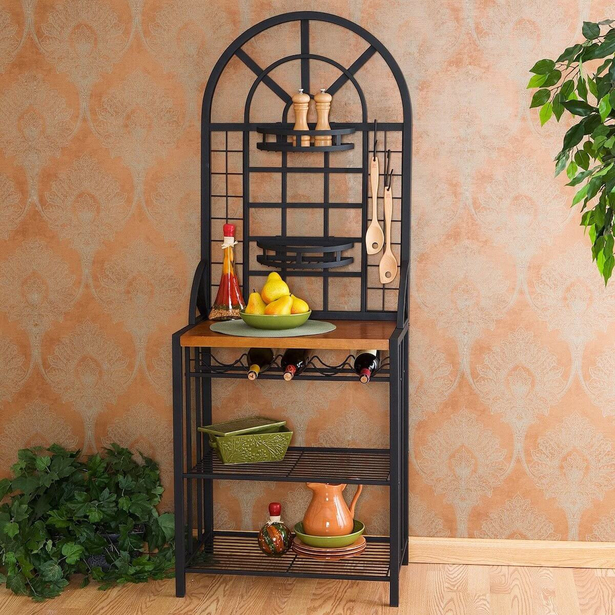 Dome Style Bakers Rack With Wine Storage