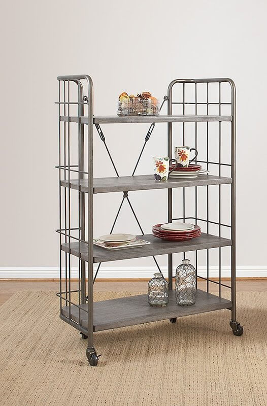Industrial Style Bakers Rack With Wheels