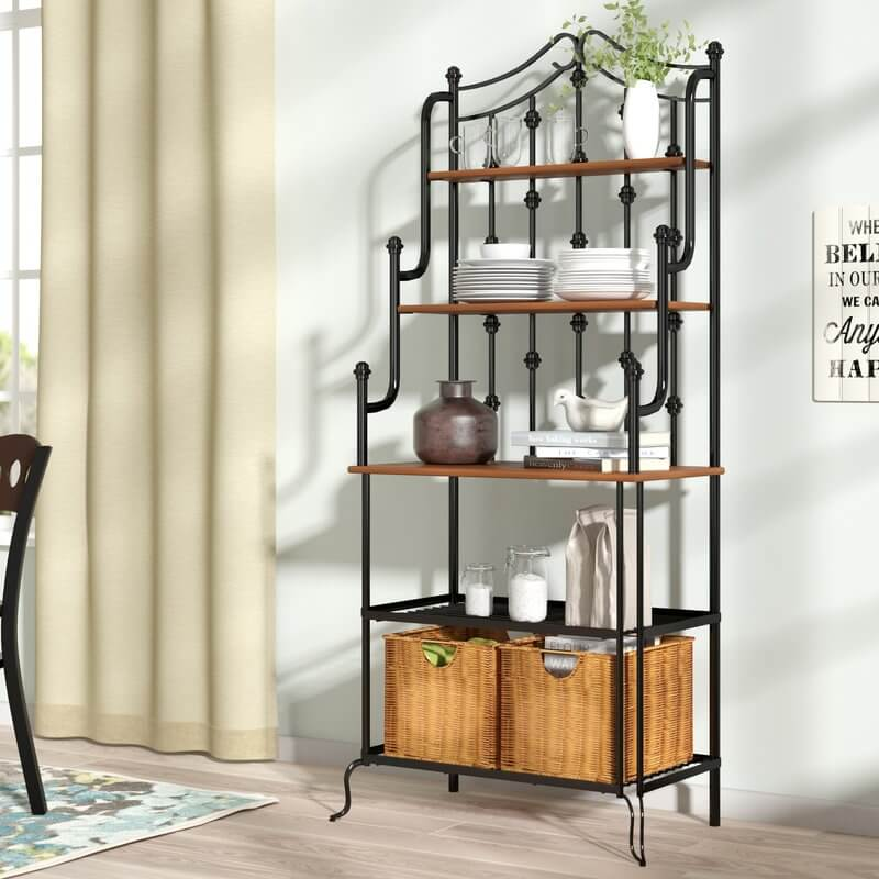 Iron Bakers Rack With Wicker Baskets