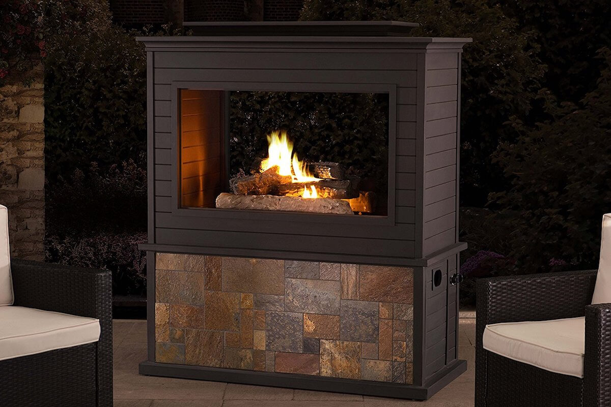 Large 2 Sided Gas Fireplace