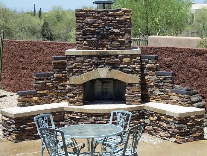 Large Santa Fe Stone Fireplace