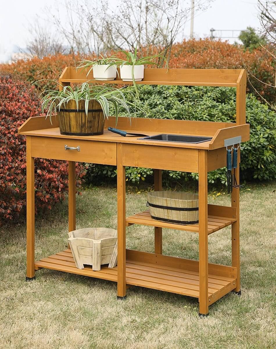 Light Oak Potting Bench