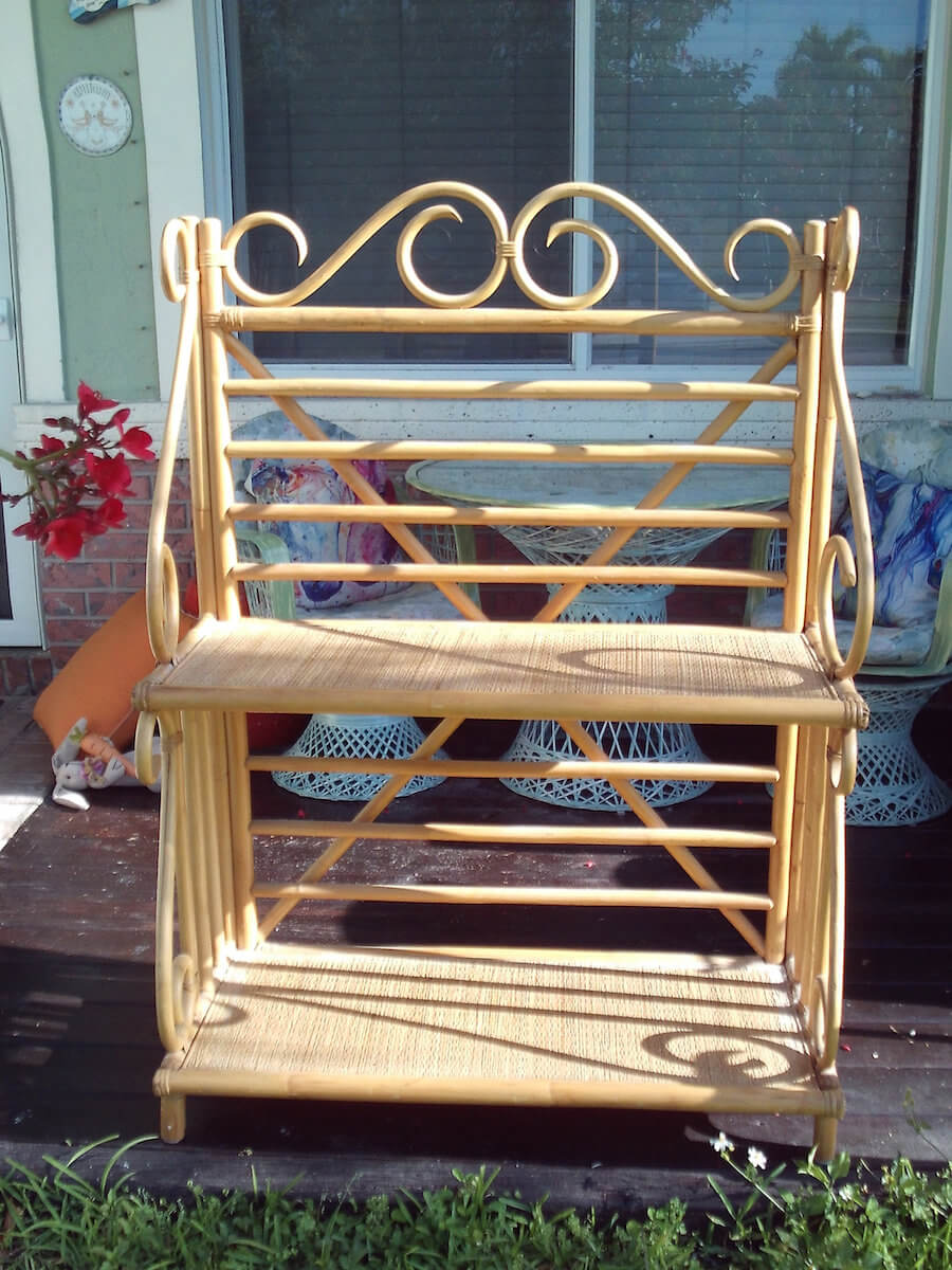 Mid Century Two Tiered Bamboo Bakers Rack