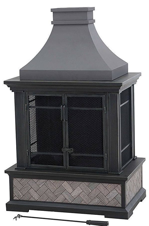 Outdoor Fireplace With Tiled Exterior