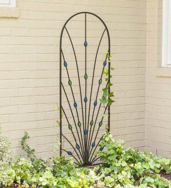 peacock inspired garden trellis