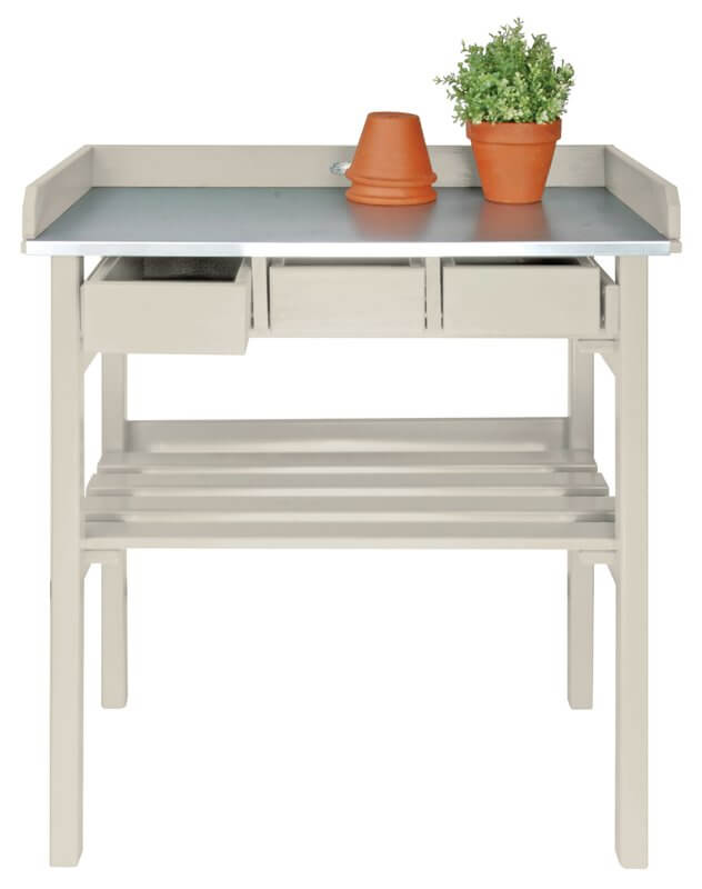 Pine Wood And Zinc Potting Bench