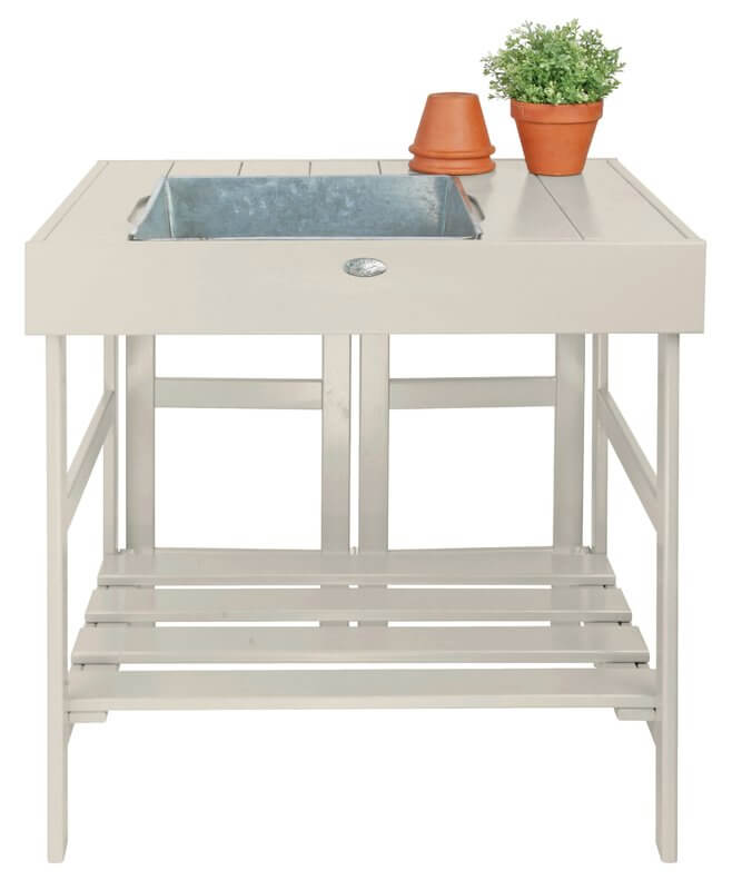 Pine Wood Potting Bench With Galvanized Sink
