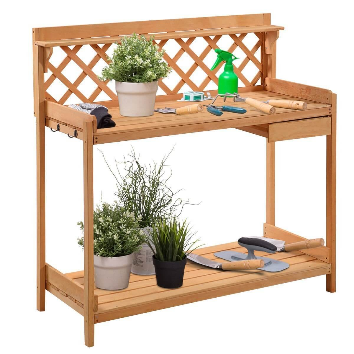Potting Bench With Lattice Detail