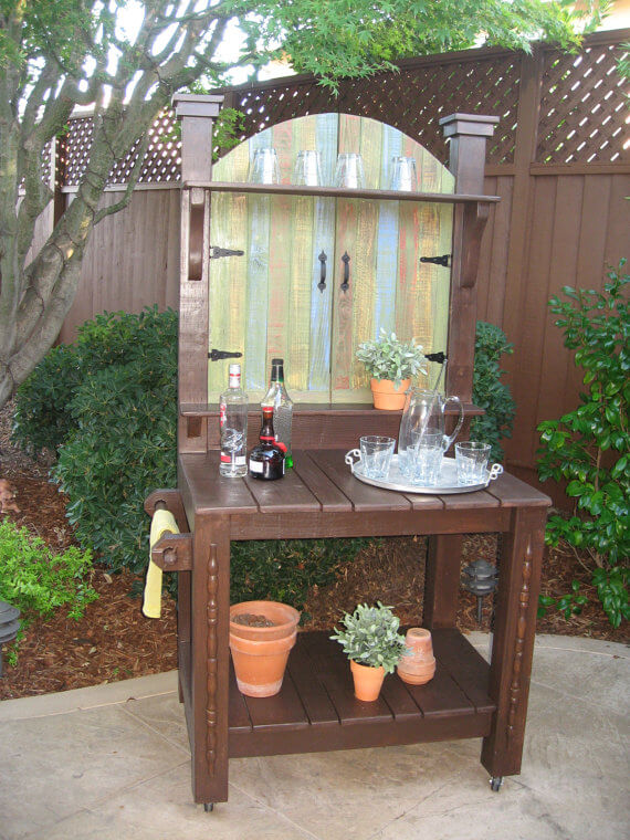 Potting Bench with Painted Gate Front