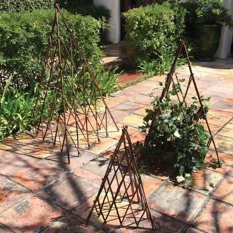Small Natural Wood Pyramid Trellis