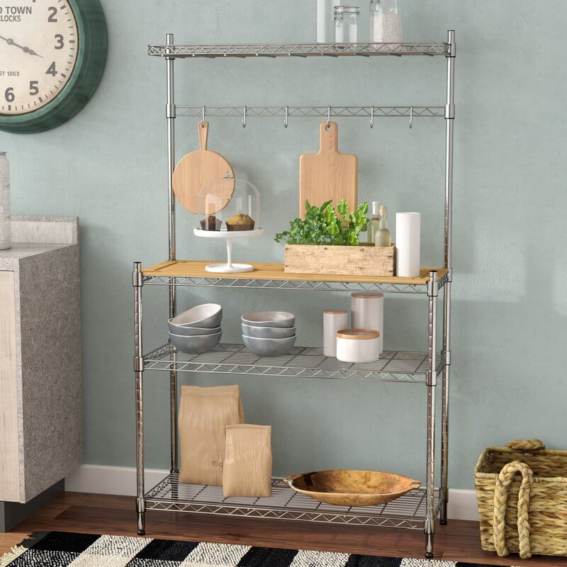 Steel Bakers Rack With Chopping Block