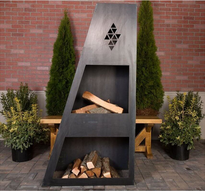 Steel Wood Burning Asymetrical Fireplace