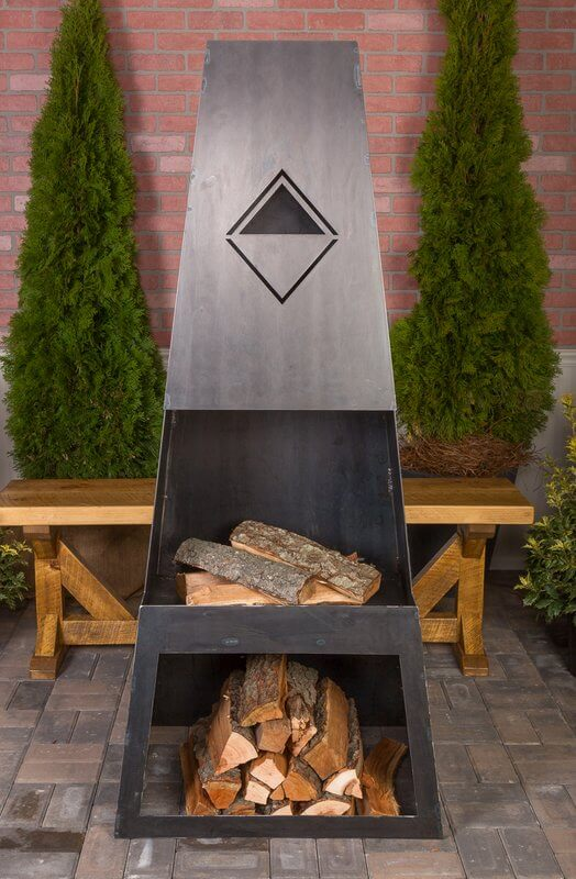 Tall Steel Wood Burning Fireplace with Storage