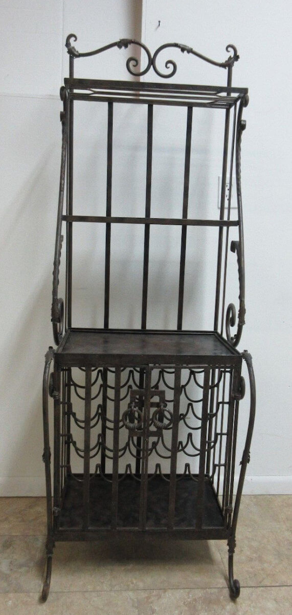 Vintage Wrought Iron Filigree Wine Rack Bakers Shelf