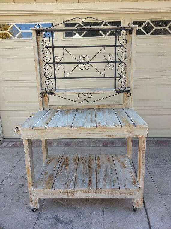 Whitewashed Potting Bench With Iron Details