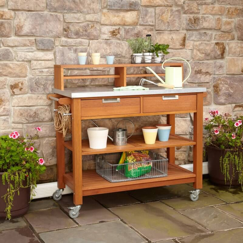 Wood Potting Bench With Wheels