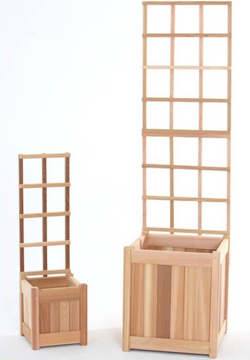 Wooden Planter Box Trellis