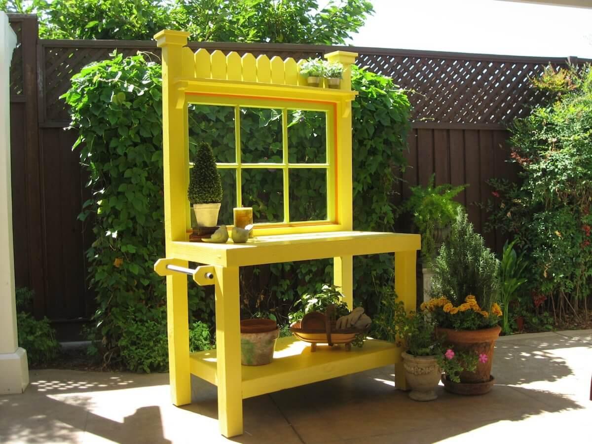 Yellow Potting Bench