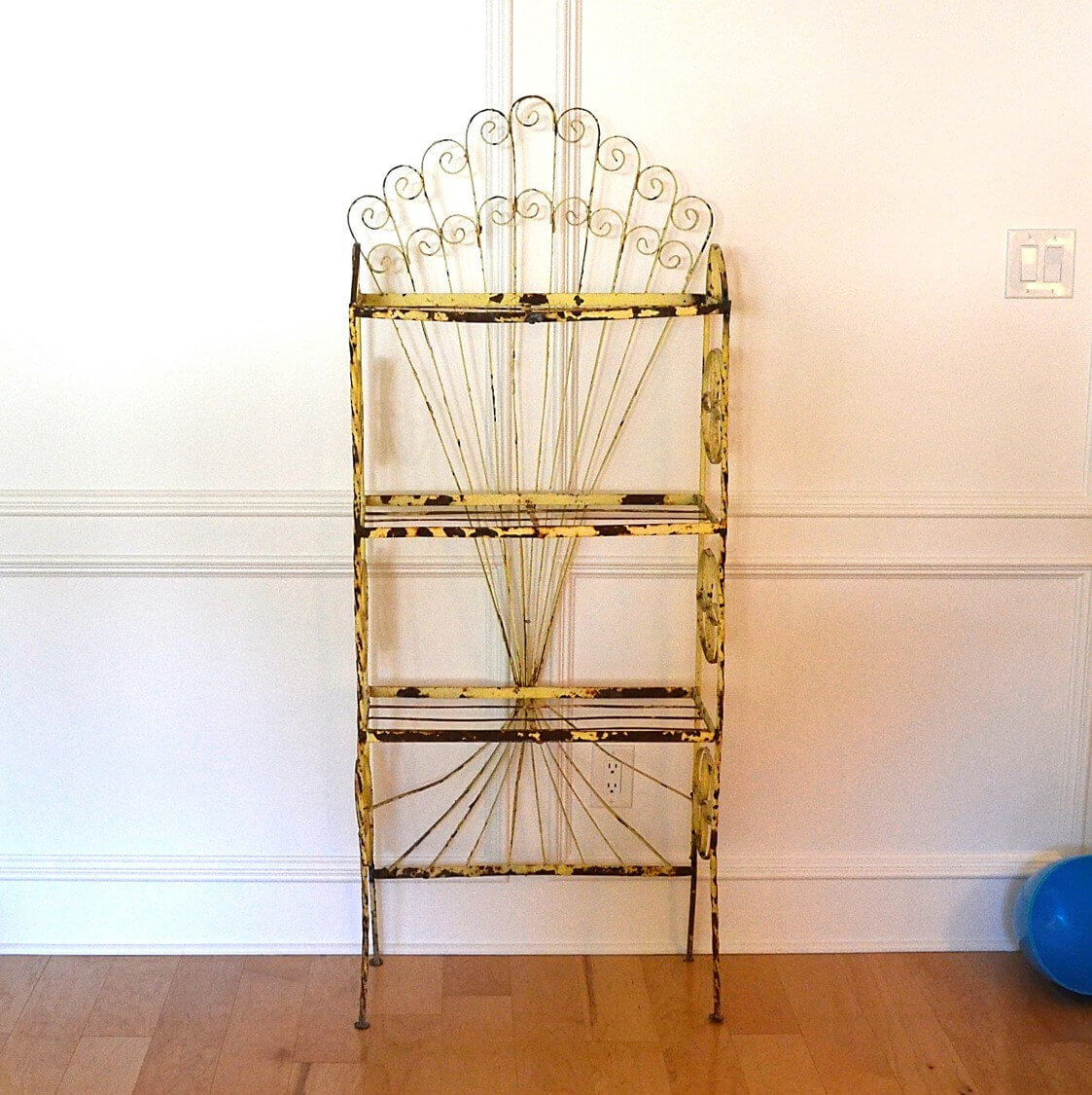 Yellow Shabby Chic Rustic Metal Bakers Rack