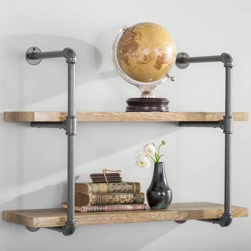 antique wood pipe shelf