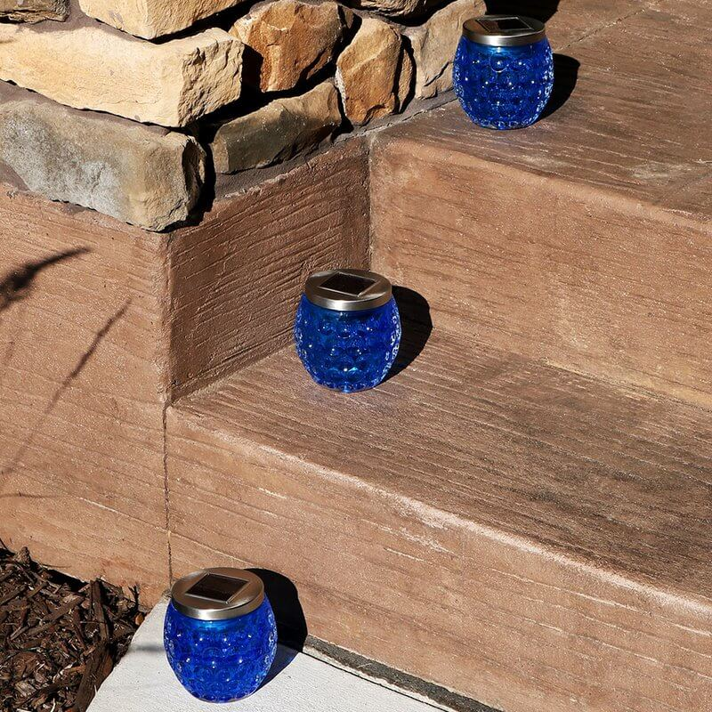 Blue Glass Solar Light Jars