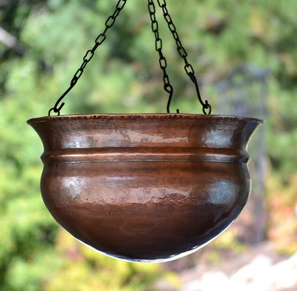 Brass Hanging Planter With Antique Finish