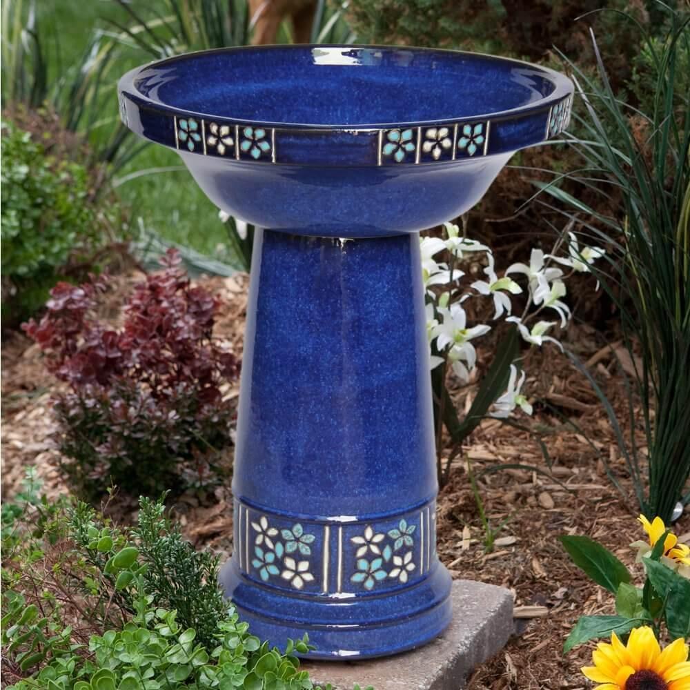 Ceramic Solar Bird Bath