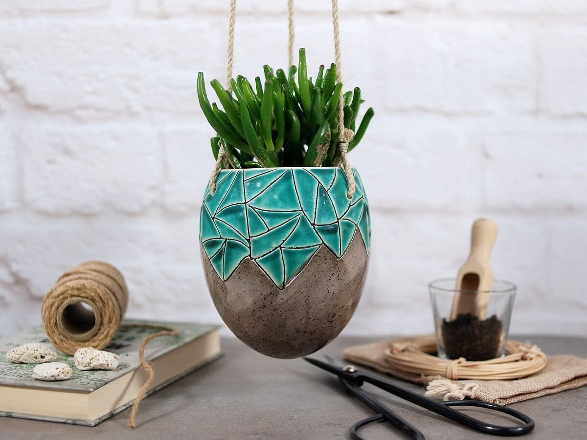 Cermaic Hanging Planter With Geometric Details